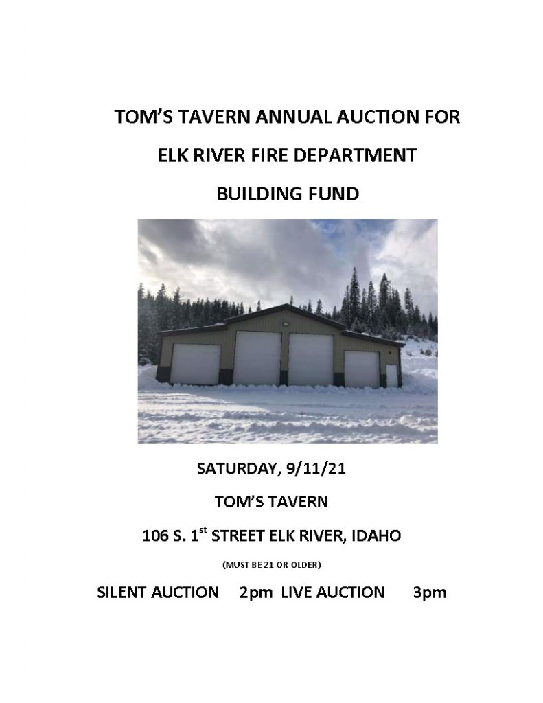 TOM'S TAVERN ANNUAL AUCTION FOR ELK RIVER FIRE DEPARTMENT BUILDING FUND